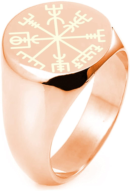 Sterling Silver Vegvisir Viking Compass Symbol Round Flat Top Polished Ring
