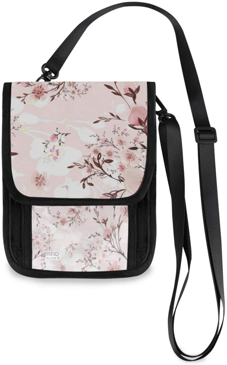 Neck Travel Wallet Neck Pouch - Watercolor Blooming Branches Passport Holder with RFID Blocking for Woman Man Anti Theft Wallet