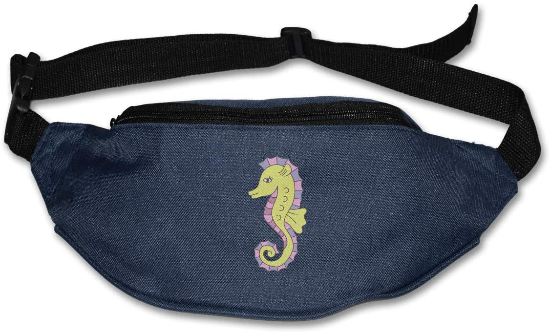 SWEET-YZ Unisex Waist Pack Cartoon Sea Horse Flat Fanny Bag Pack for Sport Running