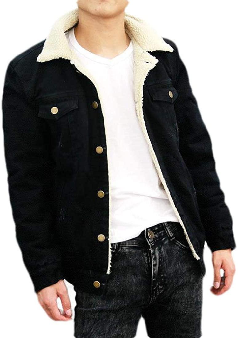 Sudhguyfuy Mens Fleece Lined Sherpa Windbreaker Button Up Winter Outdoor Jeans Jacket,Black,X-Large