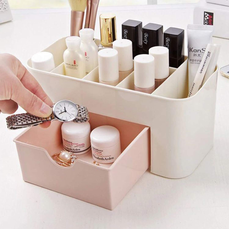 Makeup Organizer Box Jewelry Necklace Nail Polish Earring Plastic Makeup Box Home Desktop Organizer For Cosmetics