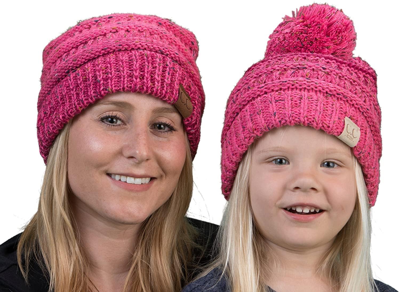 Mother(NO POM)/Daughter(POM) Winter Hat Bundle (Variegated) - Bubble Gum Pink