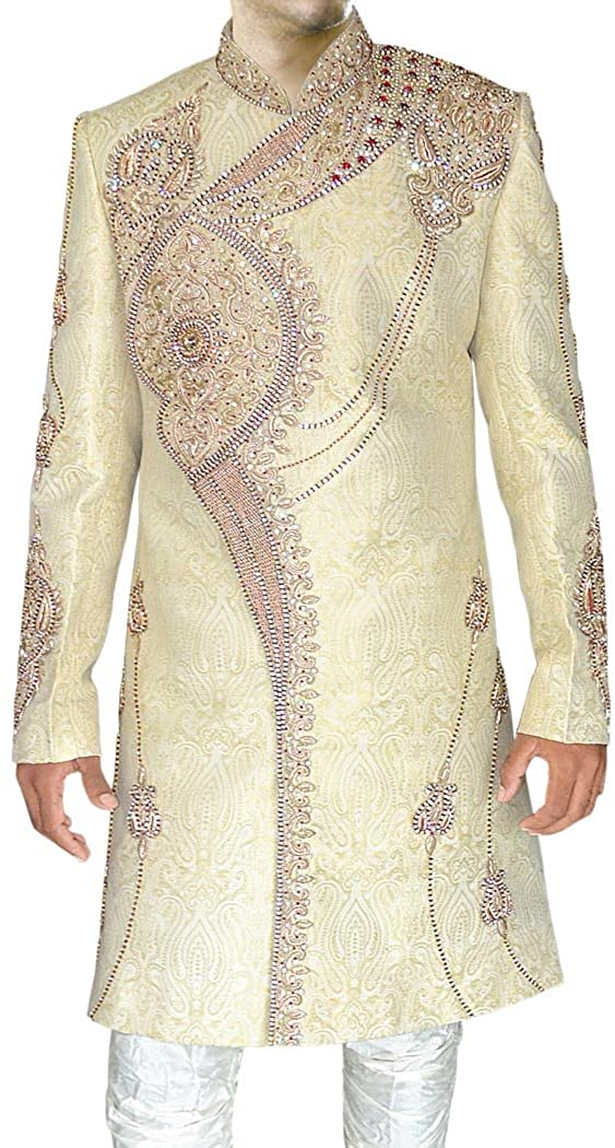 INMONARCH Indian Sherwani for Men Ivory Indo Western Sherwani Heavy Embroidered IN315