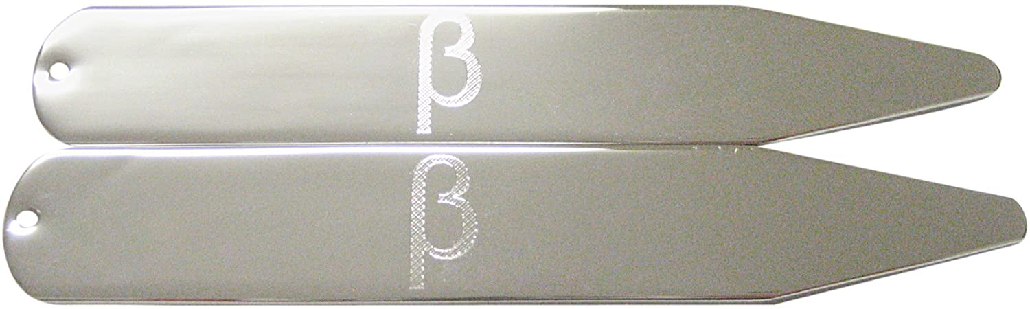 Silver Toned Etched Greek Letter Beta Collar Stays