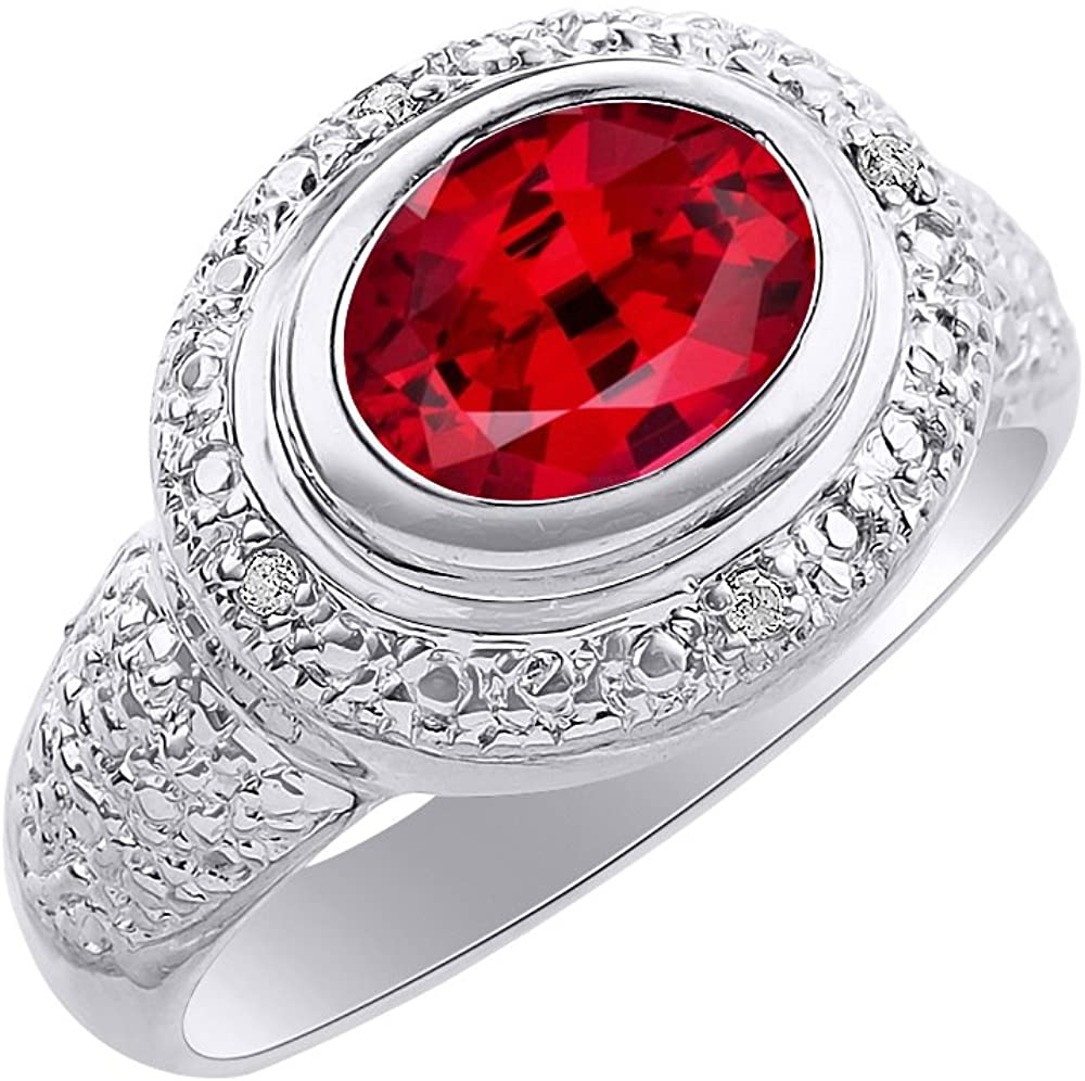 Diamond & Ruby Ring Set In Sterling Silver - Diamond Halo - Color Stone Birthstone Ring