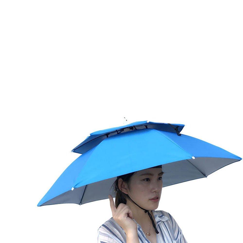 Multicolor Outdoor Foldable Double Umbrella Hat Sun Rain Cap Camping Fishing (Light Blue)