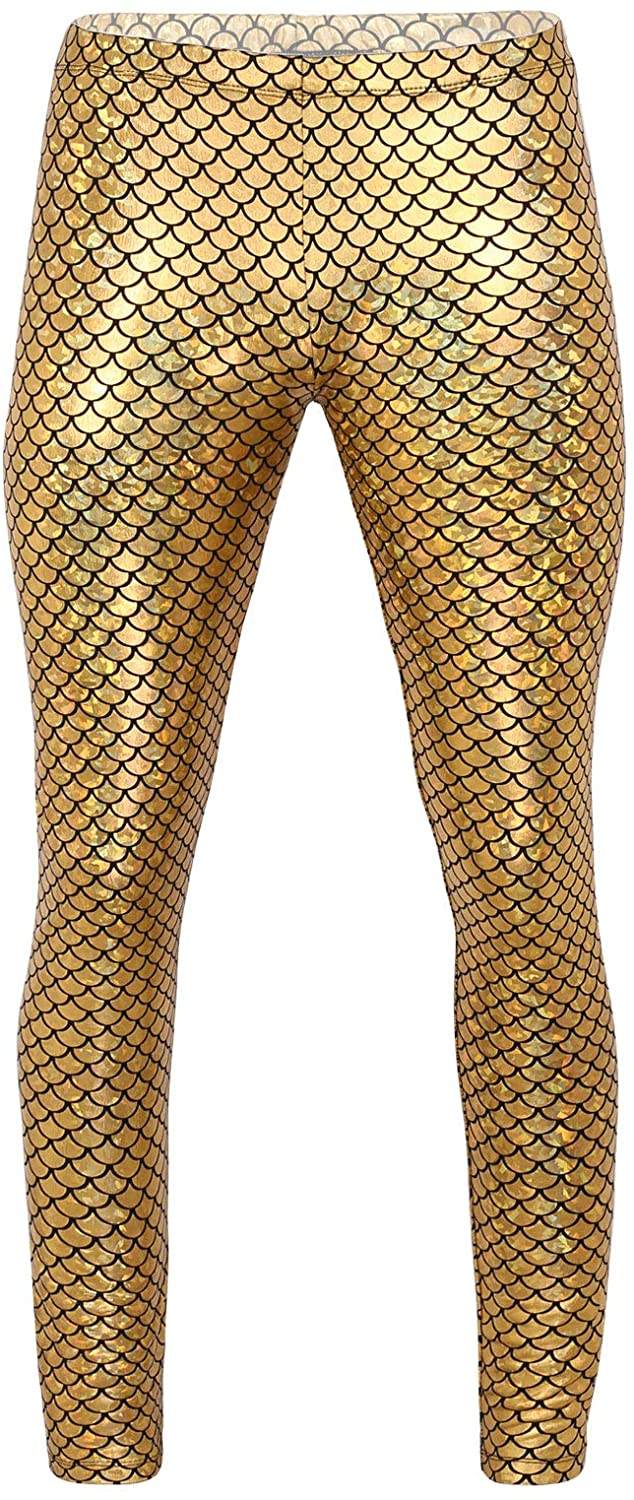 Freebily Men's Shiny Fish Scale Print Trousers Night Club Dance Slim Long Pants Costume