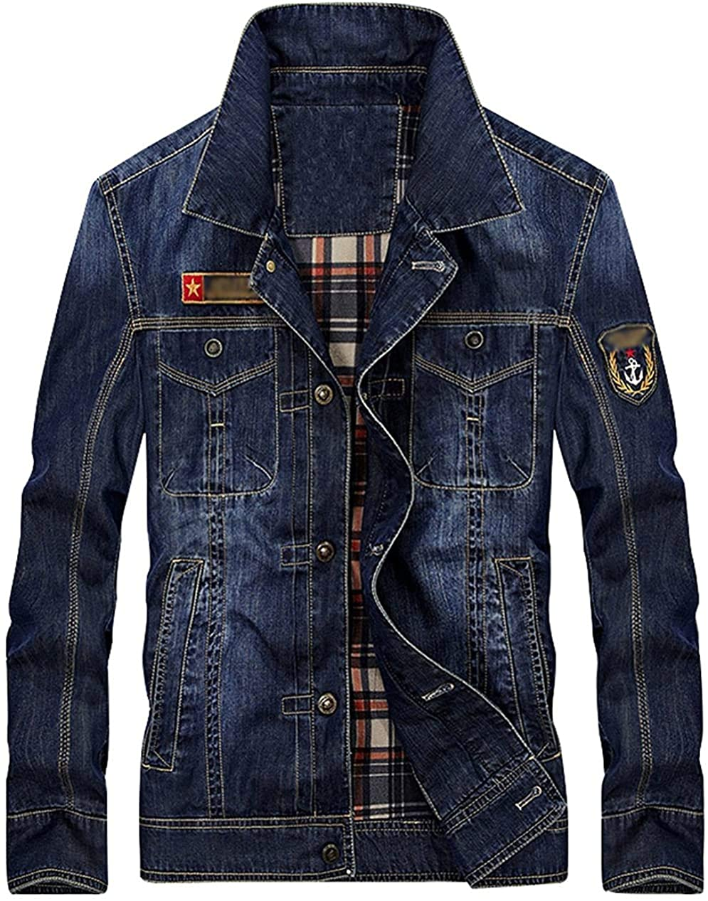 Xudcufyhu Men's Casual Retro Lapel Long Sleeves Denim Jacket Outerwear