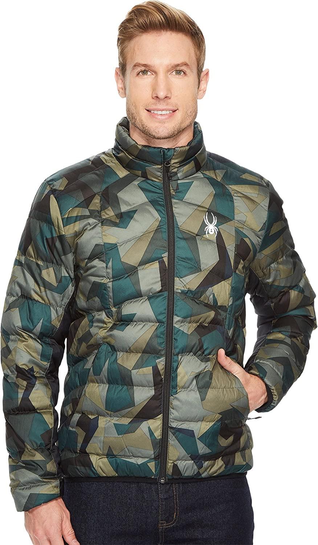 Spyder Men's Geared Synthetic Down Jacket, Guard Camo Print/Black, XX-Large
