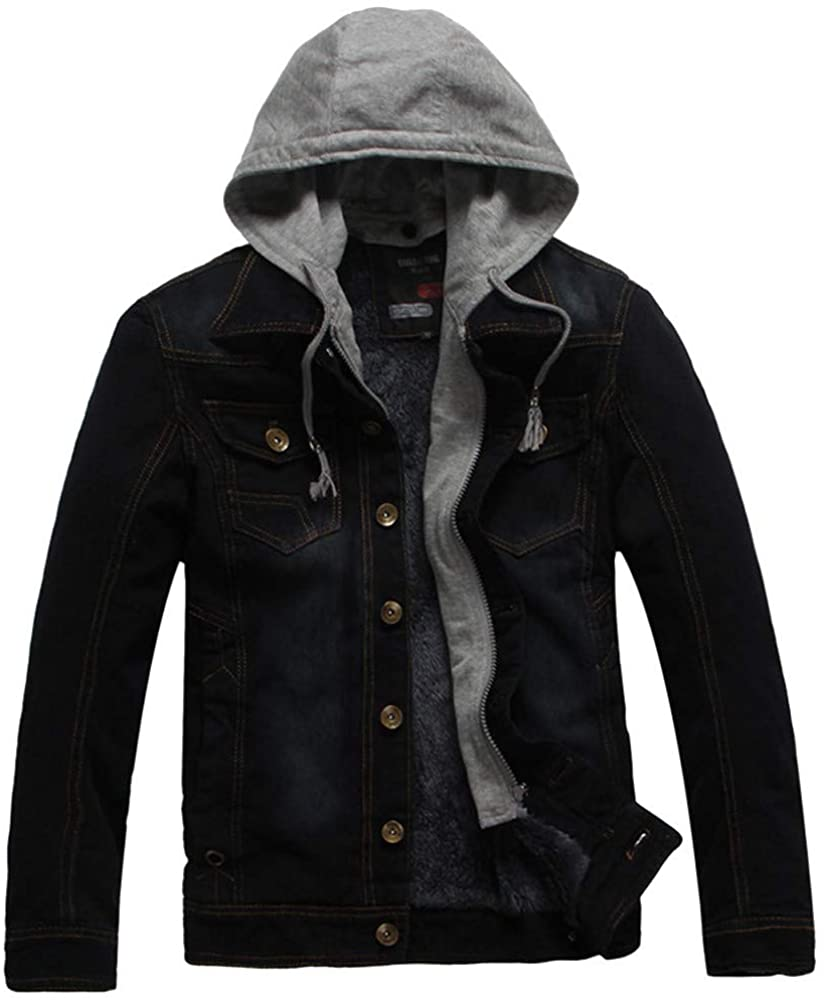 YUTAO Mens Hipster Hip Hop Button Down Long Sleeve Hooded Denim Jacket Removable Hood