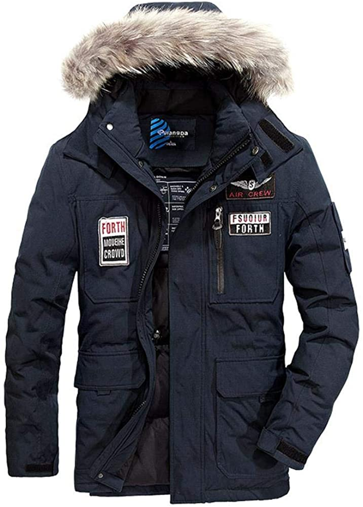 Wehor Winter Men Long Fashion Casual Youth Fur Collar Hooded 80% Duck Down Jacket