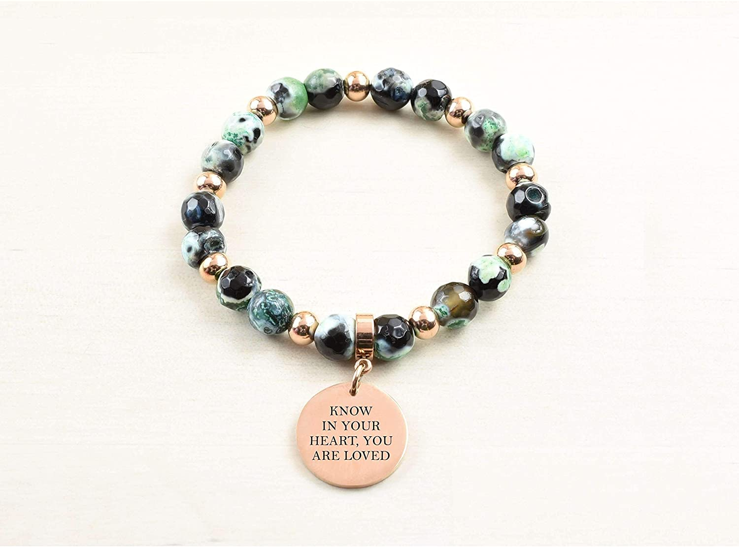 Pink Box Genuine Agate Inspirational Bracelet - Green - Know in Your Heart - Rose Gold -