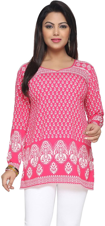 Maple Clothing Indian Tunic Top Women's Printed Short Kurti Kurta India Apparel