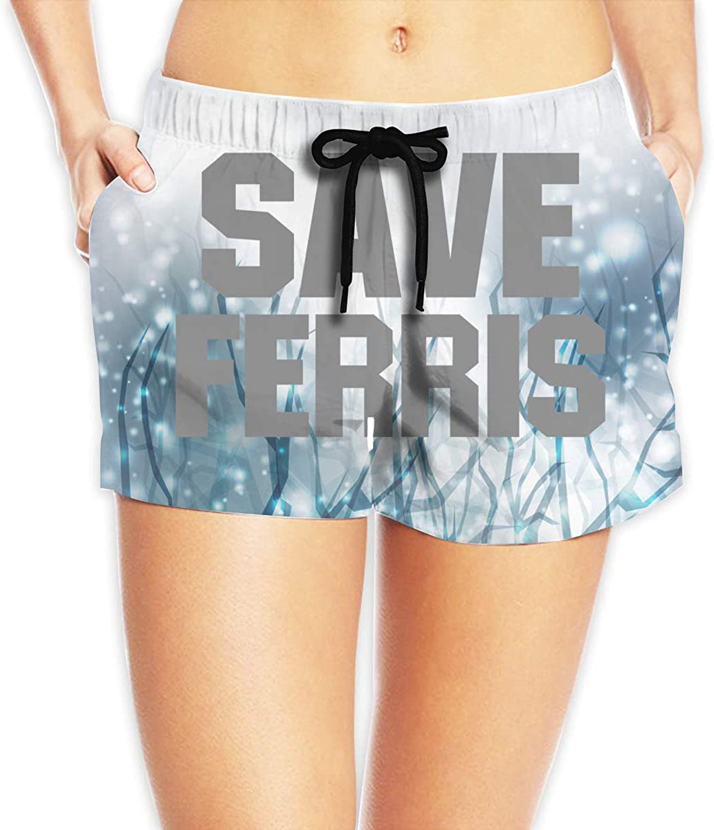 Save Ferris - Bueller - Support Day Off Womens Shorts Summer Quick Dry Drawstring Elastic Waist Casual Board Shorts