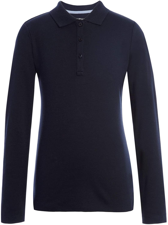 Tommy Hilfiger Long Sleeve Interlock Girls Fit Polo Shirt, Kids School Uniform Clothes