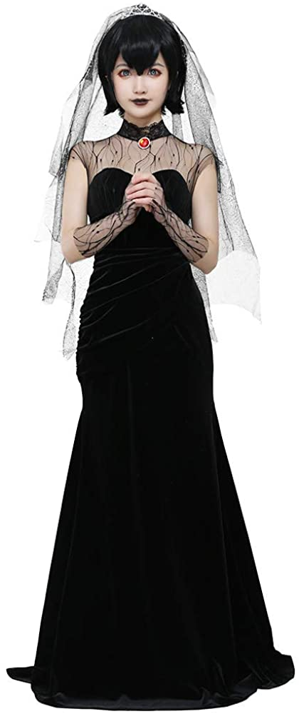 miccostumes Women's Mavis Dracula Halloween Costume Black Wedding Dress