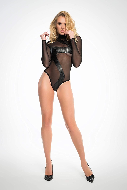 Allure Lingerie Adore A1025 Womens Wild Sheer Bodysuit Black/S