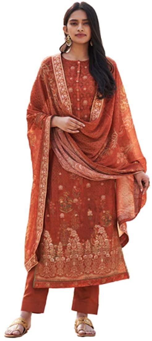 Copper Indian Silk Party Punjabi Wear Digital Print Salwar Kameez Embroidery Festival Muslim Dress 4103B