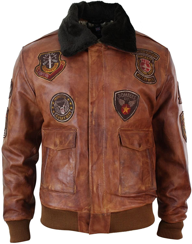Aviatrix Mens Aviator Flying Pilot Bomber Jacket Vintage Washed Tan Black Fur Collar n-Timber s
