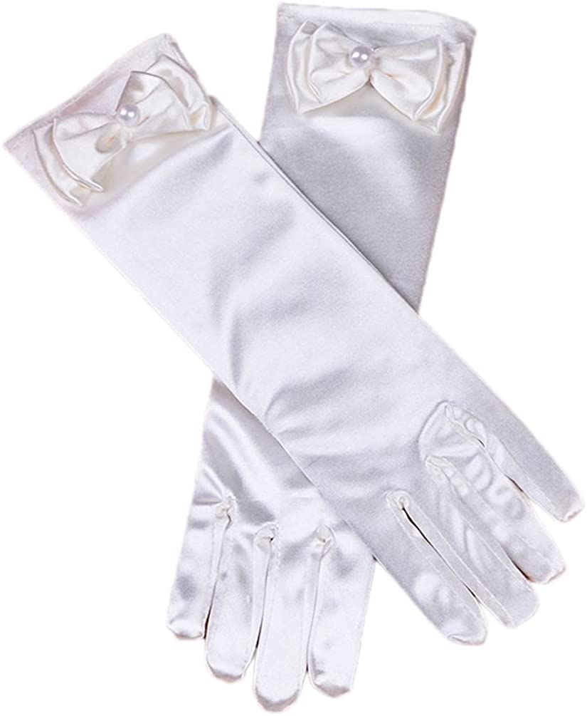 Ealafee Kids Girl's Long Satin First Communion Gloves Pageant Gloves with Pearls