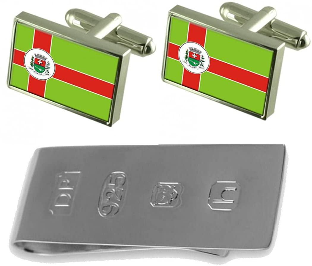 Select Gifts Guaira City Sao Paulo State Flag Cufflinks & James Bond Money Clip