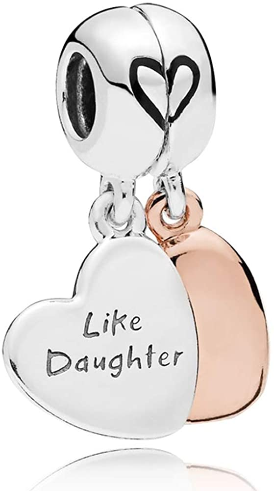 MiniJewelry Mother Daughter Sister Best Friends Series Love Heart Charm for Bracelets Forever Women Sterling Silver Charms