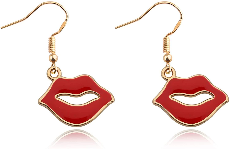 CENWA Red Lips Earrings Lipstick Earrings Makeup Artist Jewelry Mouth Earrings Punk Jewelry Gift For Women Teens Girl