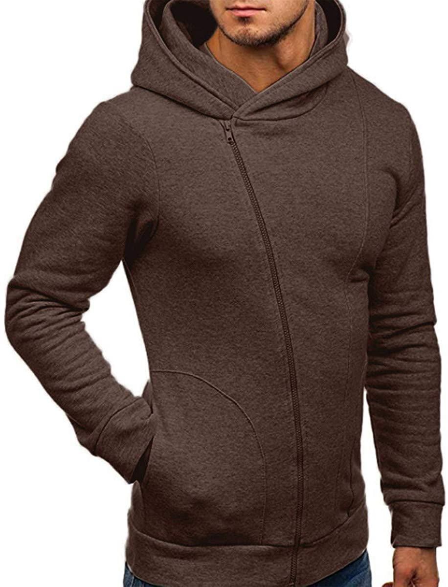 PennyStone Mens Solid Long Sleeve Sweatshit Casual Streetwear Hoodies Hip Hop Coat Tracksuits Jackets