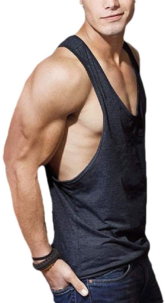 Winwinyou Men's Summer Relaxed Fit Athletic Basic Cotton Crew-Neck Tech Tank Black L