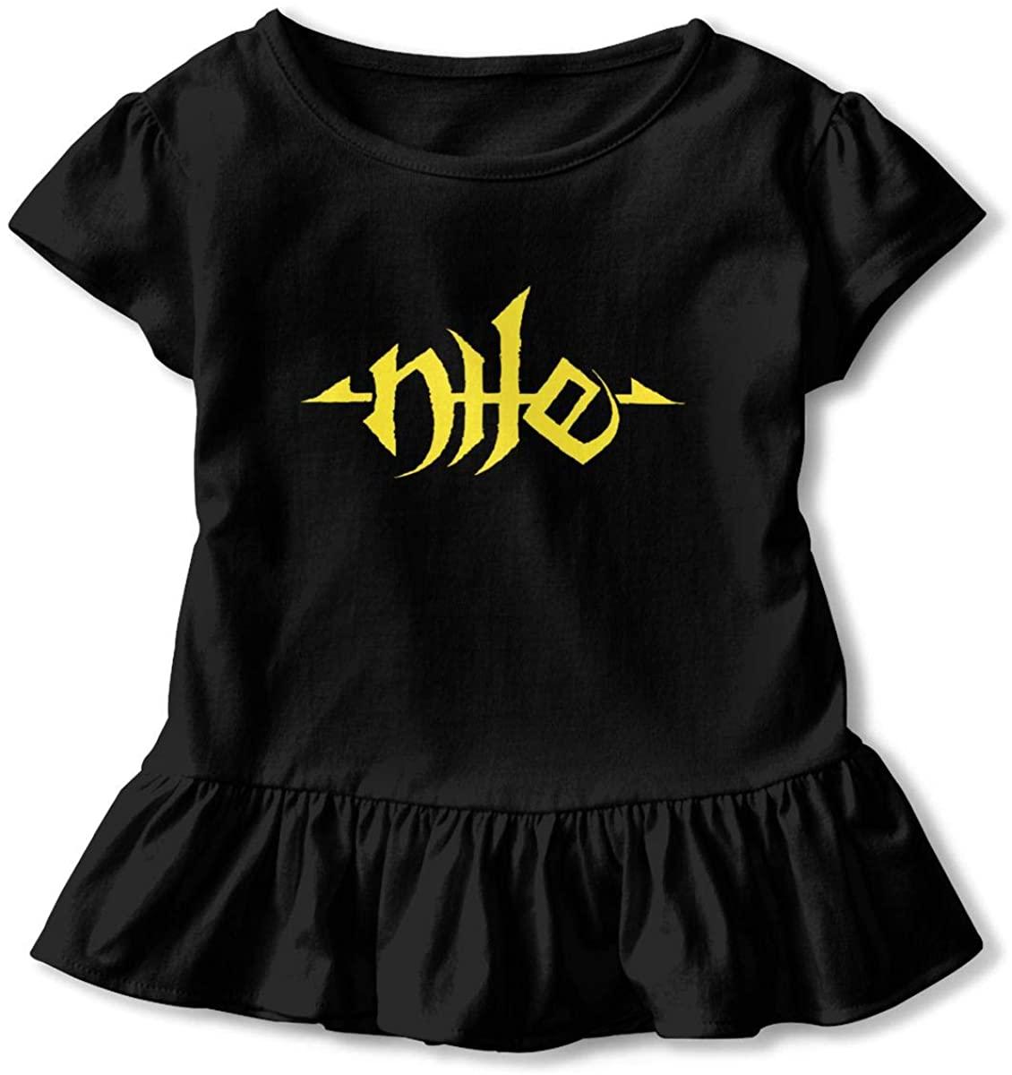 Kids Nile Band Logo Toddler Short Sleeve T Shirt Children Girls Cotton Graphic Tee Soft Dress (2-6T)