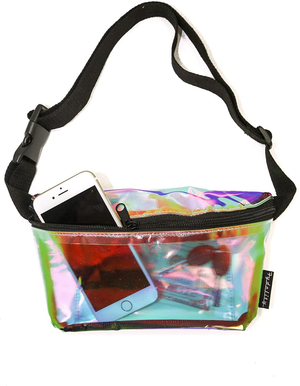 FYDELITY Fanny Pack Waist Belt Bag Ultra-Slim Holographic: