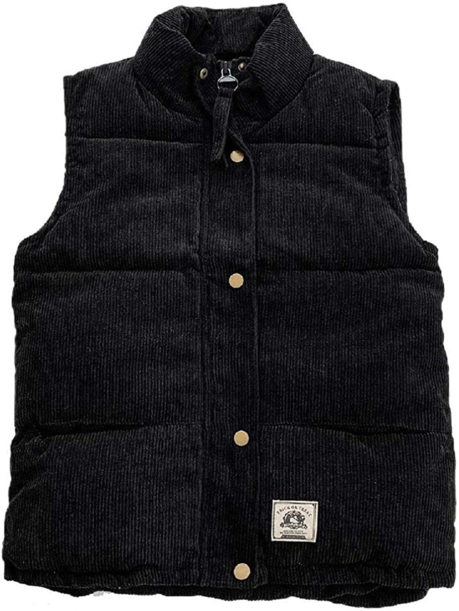 Jhsxydgy Men Mandarin Collar Vests Corduroy Oversized Warm Coat Jacket