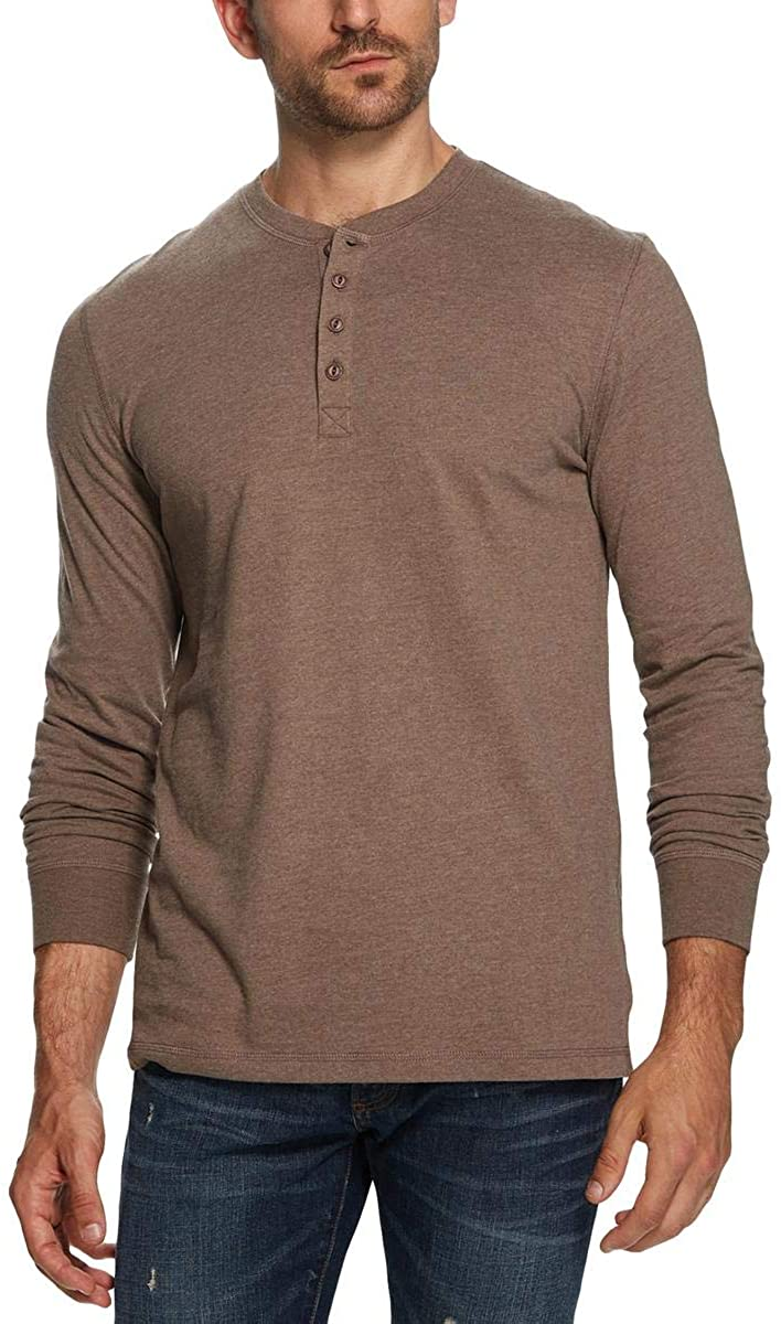 Weatherproof Mens Heathered Long Sleeve Henley Shirt