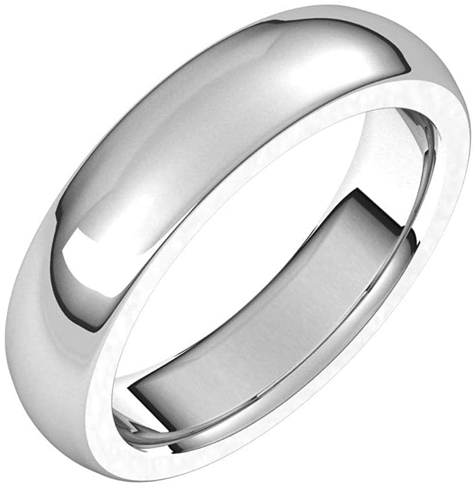 Tarnish Resistant Solid 925 Sterling Silver 5mm Half Round Comfort Fit Heavy Wedding Band Size 10