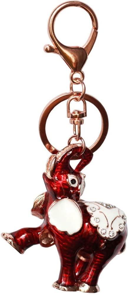 Bolbove Cute Saddle Elephant Keychain Sparkling Keyring Crystal Rhinestones Purse Pendant Handbag Charm (Red)
