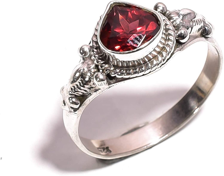 Mughal gems & jewellery 925 Sterling Silver Ring Natural Red Garnet Gemstone Fine Jewelry Ring for Women & Girls Size 8.25 U.S (ZR-773