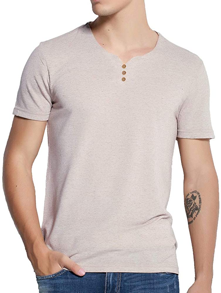 Pioneer Camp Men's T Shirts V Neck Fashion Short Sleeve Slim Fit Tees with Buttons