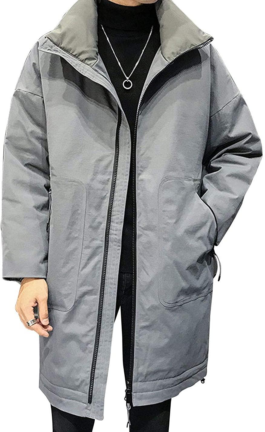 D.B.M Men's Fashion Solid Color Lapel Long Sleeve Warm Long Thick Down Jacket
