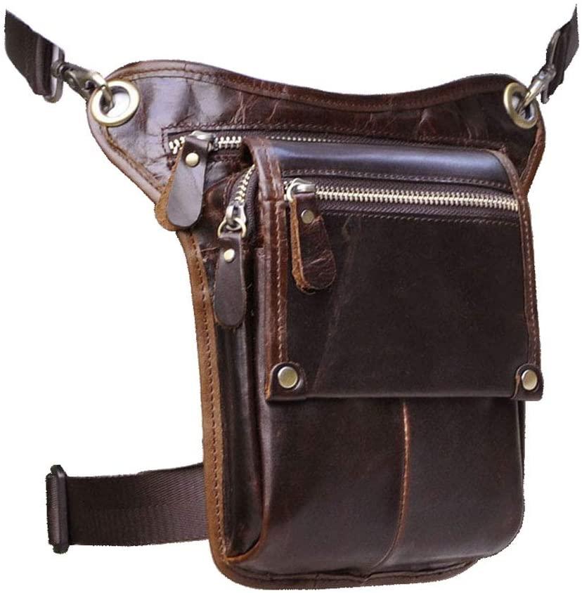 Le'aokuu Mens Genuine Leather Messenger Hiking Waist Hip Bum Pack Drop Leg Bag (Brown)
