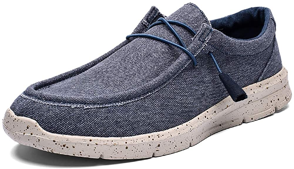 COSIDRAM Men Casual Shoes Super Light Loafers Canvas Slip on Sneakers Walking Driving Shoes Comfort Breathable Travel Stretch Shoes for Adult Male Lightweight 0.3kg