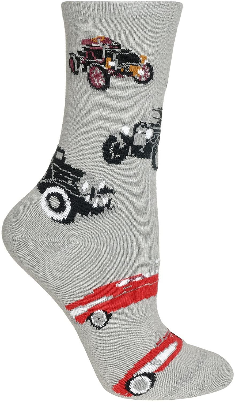 Antique Cars Gray Large Cotton Socks