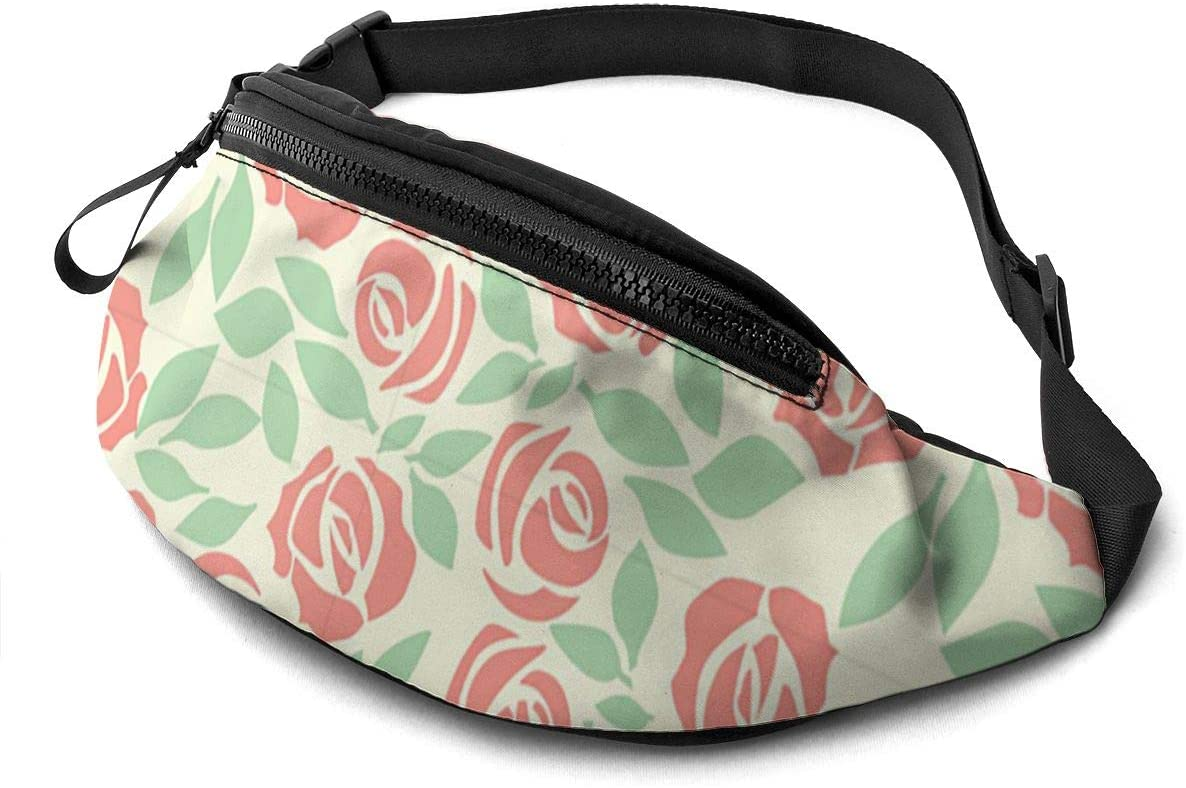 Rose background4 Fanny Pack for Men Women Waist Pack Bag with Headphone Jack and Zipper Pockets Adjustable Straps