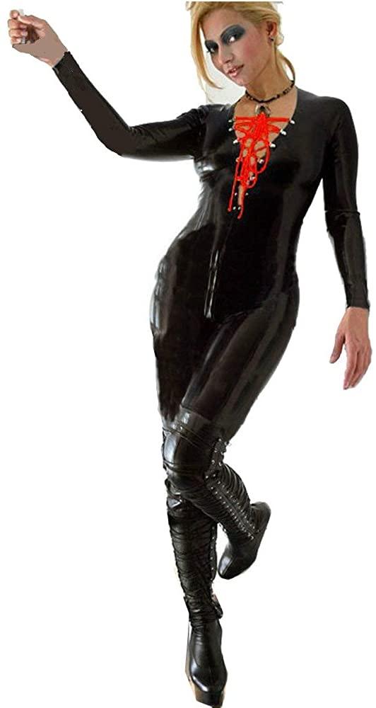 Fashion Queen Red Lace-up Gothic Punk Jumpsuit Black Women's Zipper Bodysuit Shiny Catsuit