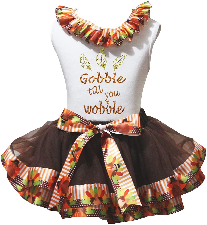 Petitebella Gobble Til You Wobble White Shirt Brown Turkey Petal Skirt Nb-8y