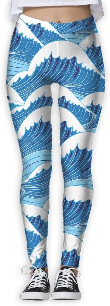 MASDUIH Sea Waves Womans Yoga Jogger Sweatpants High Waist Skinny Leggings