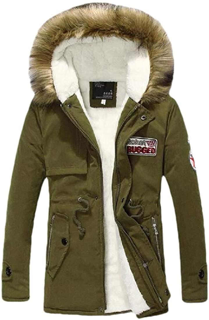 Men Winter Warm Long Jacket Thick Fur Hoodies Coat Long Sleeve Pockets Outwear Tops