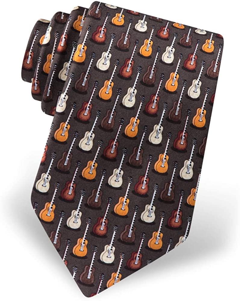 Mens 100% Silk Brown Unplugged Guitar Musical Instrument Tie Necktie