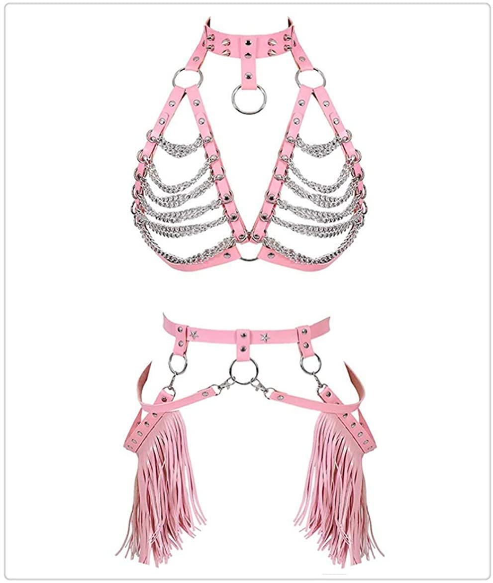 MicrkrowenWomen Waist Harness Leather Belt Metal Chain Body Tassel Punk Festival Dance Rave Costumes-Pink Shirt Accessories