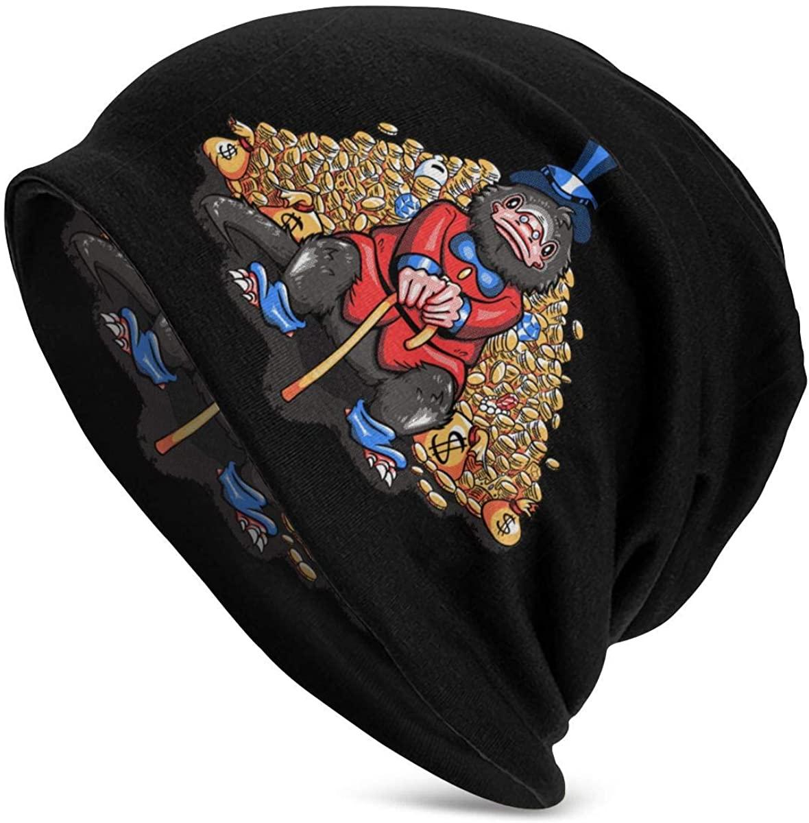 Dxddsdks SNASO Thin Unisex Adult Knit Hats Beanie Hat Winter Warm Printing Cap Black
