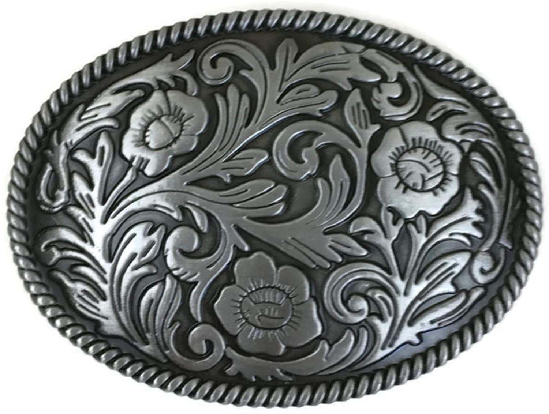 Silver Flower Design Belt Buckle, cowboy,vintage style, western, casual by Smart Mack